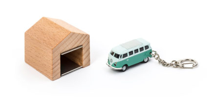 Volkswagen bus key ring with wall mounted garage