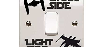 Star Wars themed light switch sticker dark side / light side