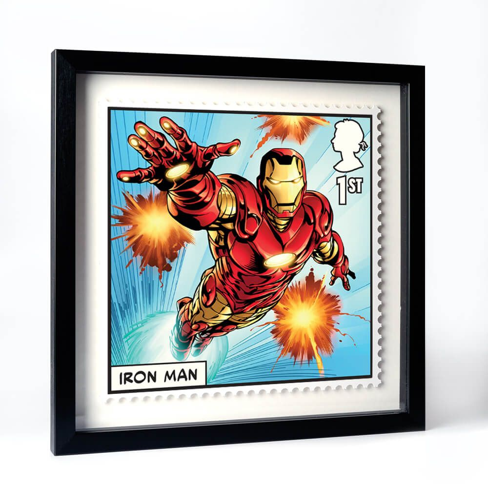 Iron Man Royal Mail stamp - framed version